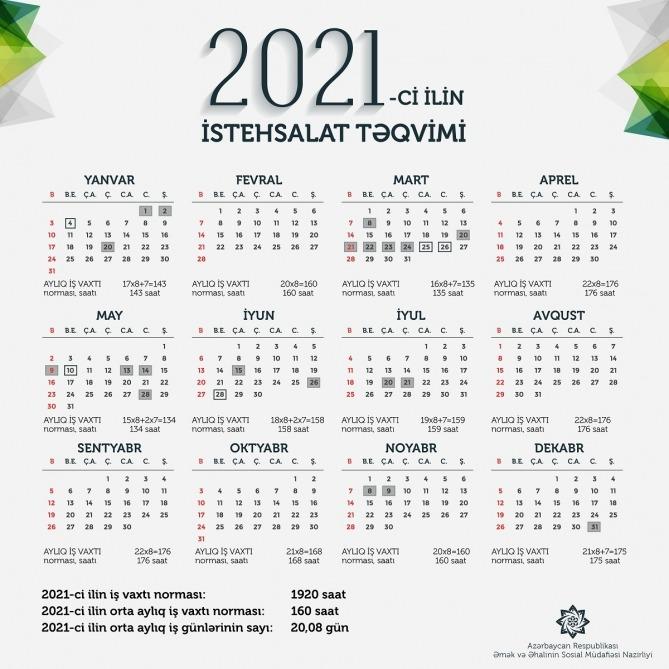 2021 Ci Il Ucun Is Vaxti Normasi Və Istehsalat Təqvimi Təsdiq Edilib